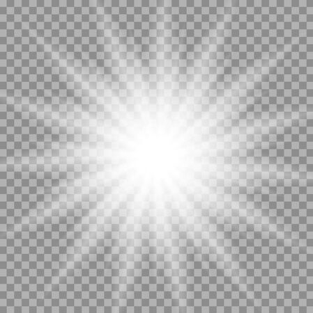 glowing star: White iridescent light effect star design. Shiny transparent rays vector background. Bright transparent glowing sparkling star