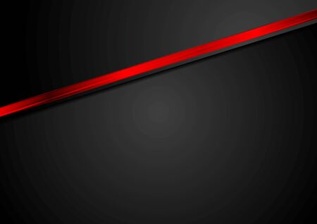 Abstract black corporate background with red glossy stripe. Vector graphic design