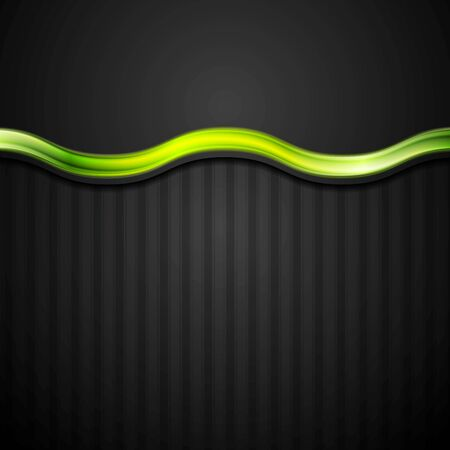 green card: Abstract black striped corporate background with green glossy wave. Vector graphic design