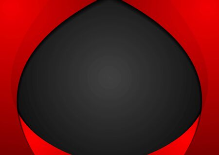 Abstract contrast red black wavy corporate background. Vector graphic design