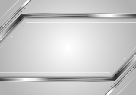silver metal: Concept tech metallic abstract striped background. Silver metal stripes on grey backdrop. Hi-tech metallic illustration Illustration