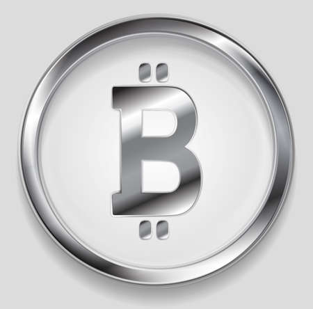 internet symbol: Crypto currency, metal icon bitcoin design. Internet virtual money bitcoin symbol Illustration