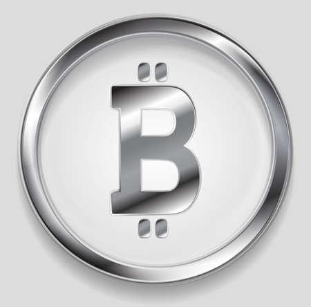 crypto: Crypto currency, metal icon bitcoin design. Internet virtual money bitcoin symbol Illustration