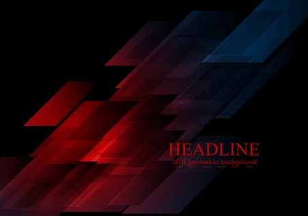 blue abstract background: Dark blue red shapes abstract tech background. Vector graphic geometric design