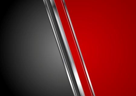 Contraste de color rojo fondo de alta tecnología negro con franjas metálicas. Vector de diseño gráfico abstracto