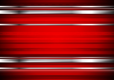 Striped tech metallic corporate background. Abstract red vector design with metal silver stripes
