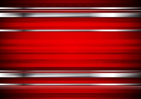 Striped technologii metalicznej firmy tle. Streszczenie projektu czerwonego wektora z pasków srebrnych metalu