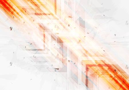 Grunge orange tech background with arrows. Vector grunge style illustration, web layout brochure technology template design Vettoriali