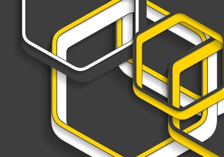 amarillo y negro: hexágonos de color amarillo y negro abstracto geométrica de la tecnología. diseño gráfico de vector mínima