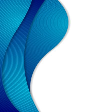 blue lines: Abstract blue curved waves, bright lines. Vector concept wavy background Illustration