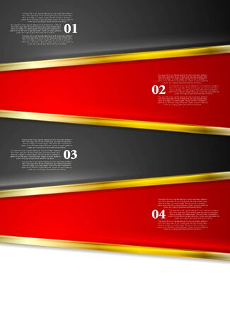 Bright red black infographics design with golden stripes. Vector contrast tech background