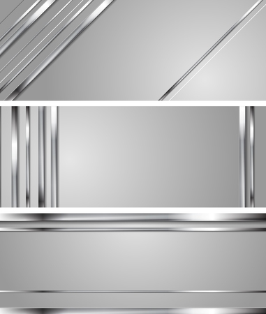 Minimal abstract technology silver vector headers. Metallic stripes on grey backdrop. Hi-tech chrome metal banners