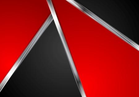 linee metalliche argento, contrasto rosso sfondo nero tecnologia. Grafica vettoriale design con strisce di metallo Vettoriali