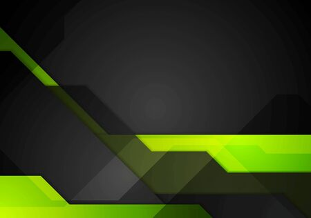 green and black: Green black abstract tech background. Vector dark geometric design illustration