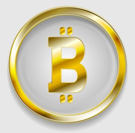 metal net: Crypto currency, golden icon bitcoin design. Internet virtual money bitcoin symbol