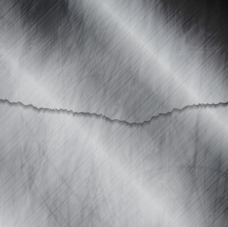 edge design: Grunge metallic wall texture with ragged edge. Vector tech silver design