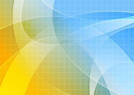 Fondo ondulato blu arancio luminoso con struttura dei quadrati. Disegno vettoriale