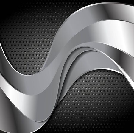 graphic texture: Abstract perforated metal texture with silver color waves. Vector template graphic design