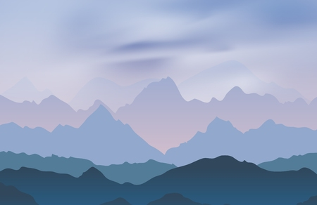 peaks: Nature landscape with mountain peaks. Mountains traveling vacation vector background. Concept outdoor design Illustration
