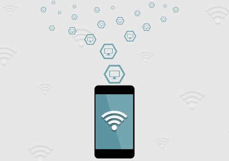wi fi: wireless connection by mobile phone tech background. Vector communication concept design Illustration