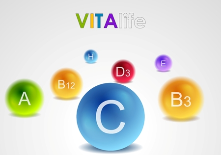 supplements: Vitamins colorful balls abstract background. Vector health design Illustration