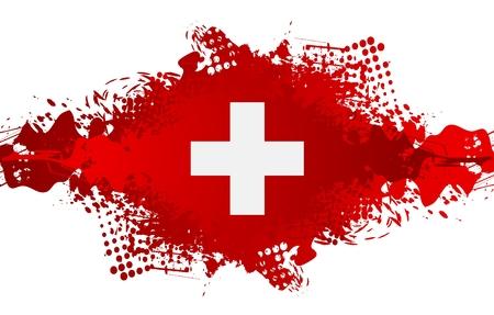 El Día Nacional de Suiza, Schweizer Bundesfeier 1 de agosto con la bandera cruz suiza y transferencia del grunge. diseño del vector Ilustración de vector