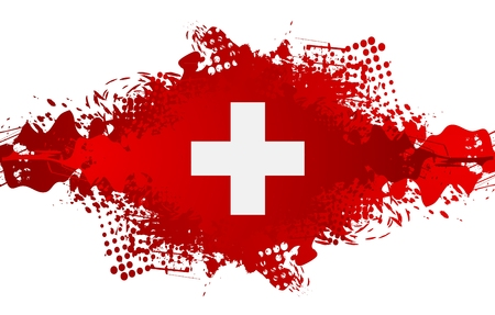The Swiss National Day, Schweizer Bundesfeier, 1 August with swiss cross flag and grunge blot. Vector design