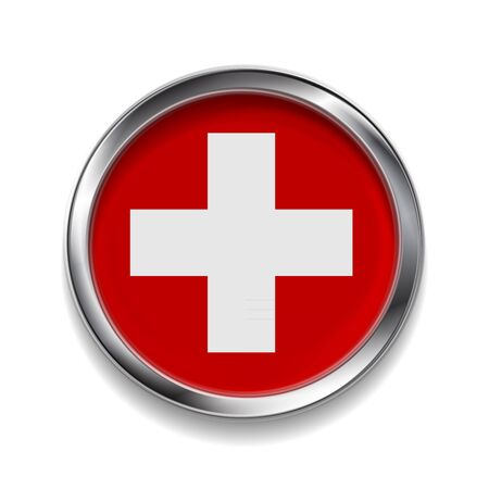 swiss insignia: Abstract vector button with metallic frame. Swiss flag Illustration