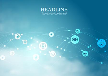 社交通信網絡波浪背景。矢量藍色的Cloudscape的設計