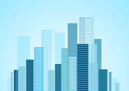 urban: Urban modern city blue panorama. Vector skyline cityscape design