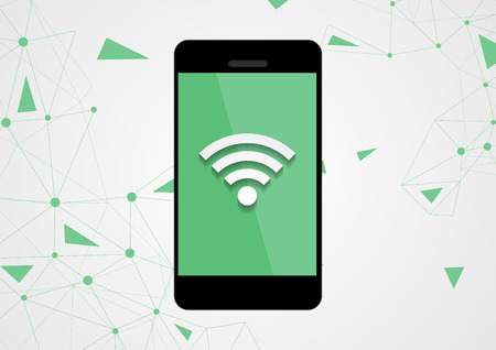 wireless connection: Wireless connection by mobile phone tech background. Vector wireless technology design