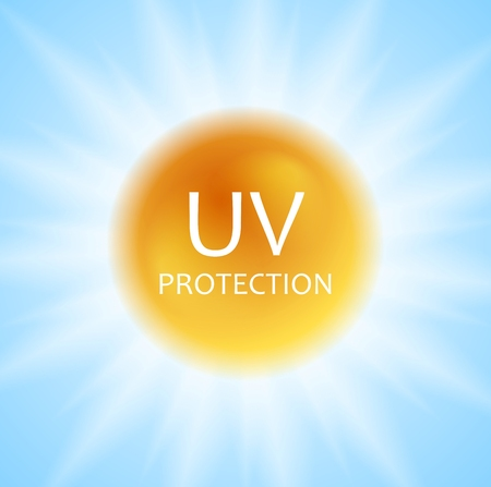 UV protection concept design with shiny sun and sunlight. Vector background Çizim