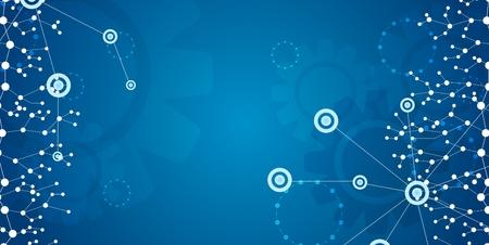 Bannière de communication de technologie bleue brillante. Contexte créatif vectoriel Vecteurs