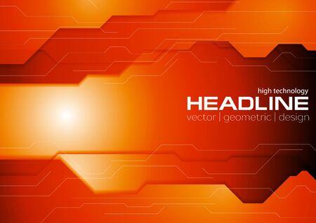 Dark orange hi-tech concept background. Vector corporate graphic design Illustration