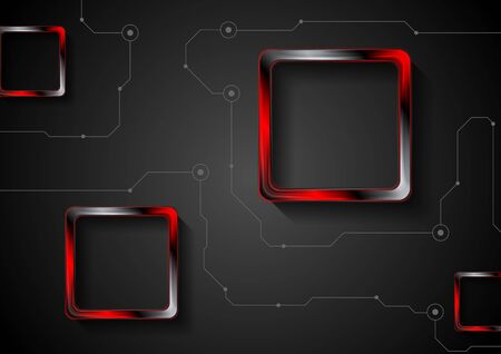 red abstract: Abstract black technology background with lines and red glossy squares. Vector illustration layout Illustration