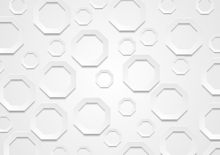 paper graphic: Abstract grey paper tech octagon shapes background. Graphic vector brochure design