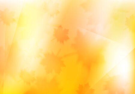 Unscharfer orange Herbsthintergrund mit Ahornblättern . Vektor-Design-Illustration