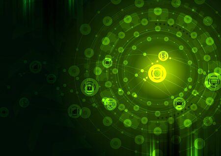 green technology: Dark green technology communication design. Vector background