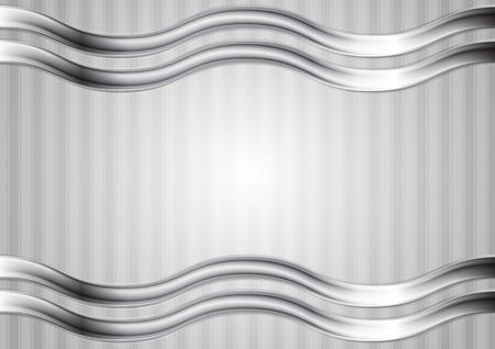 waves abstract: Minimal tech metallic abstract elegant wavy background. Silver metal waves on grey backdrop. Hi-tech metallic striped illustration