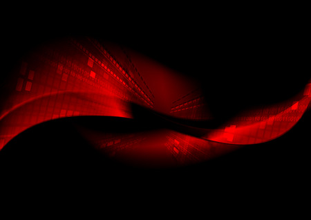Abstract black tech background with red waves. Vector design