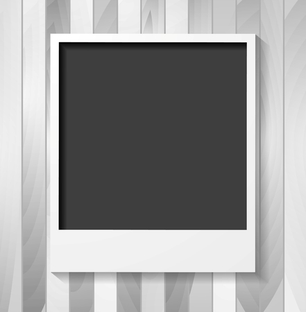 polaroid frame: Grey blank Polaroid photo frame on wooden background. Vector design Illustration