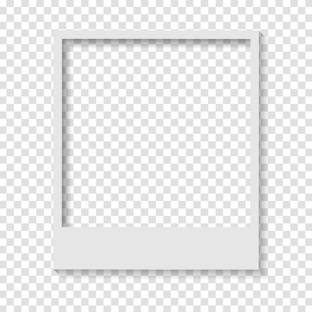 Blank transparent paper Polaroid photo frame. Vector design Stock Illustratie