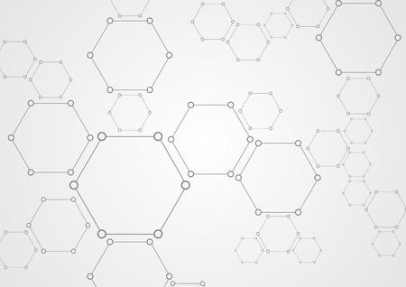 vector  molecular: Molecular hexagons structure abstract tech background. Light grey vector medical design Illustration