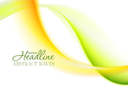elegant white: Abstract bright green yellow soft waves. Blurred smooth wavy vector design