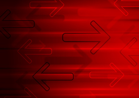 red arrows: Dark red tech glowing arrows background. Vector geometric design Illustration