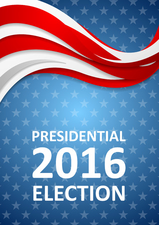 presidential: USA Presidential Election 2016 wavy flyer template. Vector background Illustration