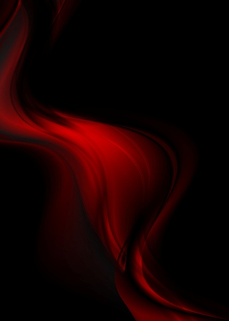 Abstract red smooth waves on black background. Vector design