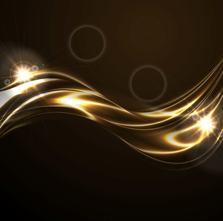 shiny black: Golden liquid smooth waves on black background with lens flare. Vector bright glowing design