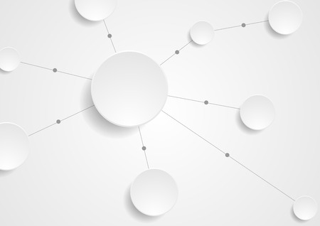 arrière-plan de communication de papier blanc cercles intégré de technologie avec des lignes grises. Travail d'équipe d'affaires design vecteur