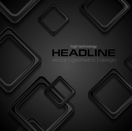 black background abstract: Abstract geometric black background with squares. Vector design illustration Illustration